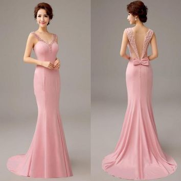 Pretty 2016 New Pink Mermaid Evening Dress with Pearls and Bow Formal Evening Gowns Long Party Dresses with Train Vestido