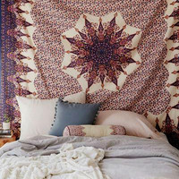 Vehari Medallion Copper Gold Brown Boho Bohemian Bedspread Wall Tapestry