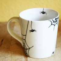 Halloween Hand Painted Ceramic Mug Tea Cup With Spider and spired webs Minimalist modern white coffee cup  Decorative Ceramic Art