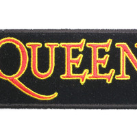 "QUEEN Logo Sew On Embroidered Strip Patch 4.2""/11cm"