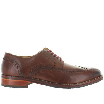 ONETOW Florsheim Salerno Wing Ox - Cognac Leather Perforated Wing Tip Oxford