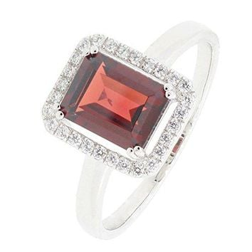 BL Jewelry Sterling Silver Emerald Cut Genuine Natural Garnet Halo Ring 17 CTTW