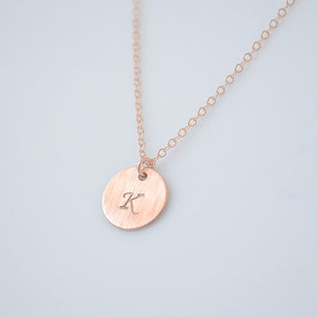 Rose Gold Initial Necklace - personalized disk necklace - 1125