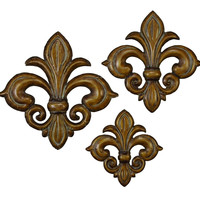 Metal Wall Decor Set Of 3 With Bronze Finish In Flower Design
