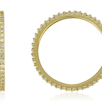 14K Yellow Gold with Clear Stones Eternity Ring Band (6.5)