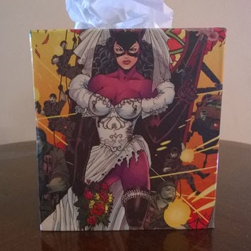Catwoman superhero comic book decoupage tissue box cover