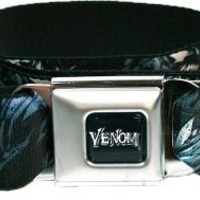 Marvel The Amazing Spiderman Seatbelt Belt - Villain Venom on Black Repeating