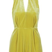 Velvet Lace Back Playsuit - Mustard