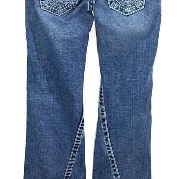 True Religion Jeans Disco Joey Big T Crystal Twisted Seam Womens 26 Actual 26x34 - Preowned