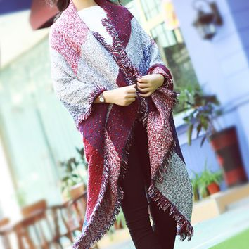 Fashion Grids Cashmere Winter Warm Scarf Cape Wrap Shawl