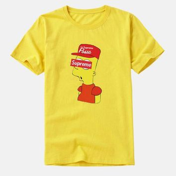 Fashion supreme print Creative loose T-shirt top yellow