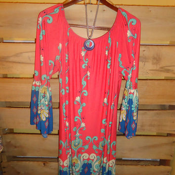 Honeyme 2B Together Coral/Mint Floral Bell Sleeves Dress S -3X Plus