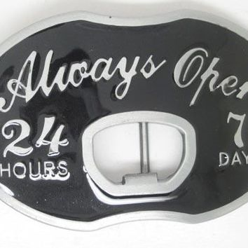 """Always Open"" Men's Black Belt Buckle with Beer Bottle Opener - 24 hours, 7 Days"