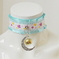 Kitten play collar - Pastel Moon - ddlg little satin princess choker with front ring - kawaii cute blue and white bdsm proof necklace