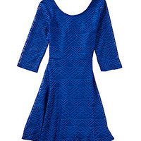 GB Girls 7-16 Tribal Lace Dress - Cobalt
