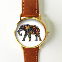 Elephant Watch  , Vintage Style Leather Watch, Women Watches, Unisex Watch, Boyfriend Watch, Men's Watch, Floral, Art Tattoo, Goodluck Charm