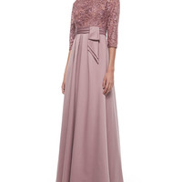3/4-Sleeve Lace Bodice Full Skirt Gown,
