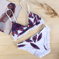 Fashion  Multicolor Feather Print Strap Bikini Set Swimsuit Swimwear