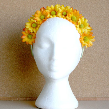 Yellow/ Light Green Faux  Small Flower headband crown