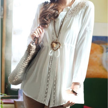 High Waist Loose Drawstring Slim Waist Lace Long sleeve Medium-Long Cutout Decoration National Trend LX78
