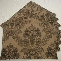 Antique Gold and Charcoal Placemats (Set of 8)