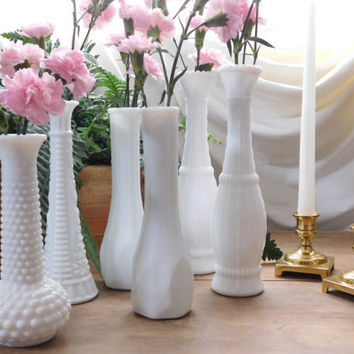 Milk Glass Bud Vases Set of 6