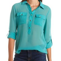 Sheer Button-Up Tunic Top by Charlotte Russe