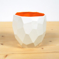 Modern ceramic cup handmade in polygons - facetted design Poligon Cup - bright color tableware - squared tableware - fresh - Bright Orange