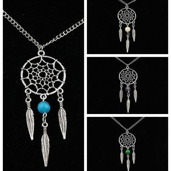 Dreamcatcher Tassel Feather Necklace crystal Opal Charm Choker Collar Necklace Pendant Vintage Silver Women Jewelry
