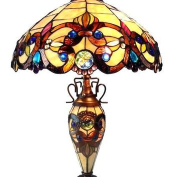 Tiffany-Style 3-Light Double Lit Table Lamp with 18-Inch Shade