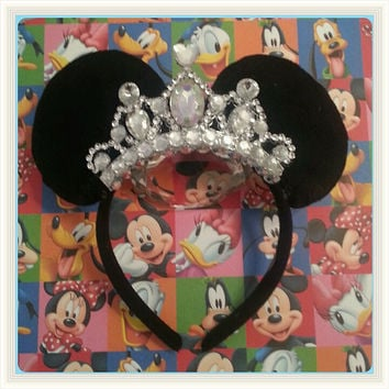Gorgeous Minnie Mouse Ear Headband with Custom Hot Pink All Jewel Crown and other styles