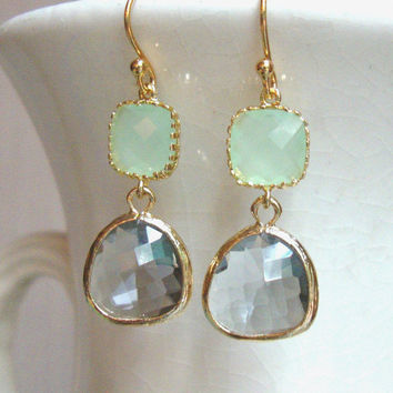 Cool Mint Green and Gray Glass Dangle Earrings. Color Block Earrings. Bridesmaid Earrings. Wedding Earrings. Mint and Gray Earrings.
