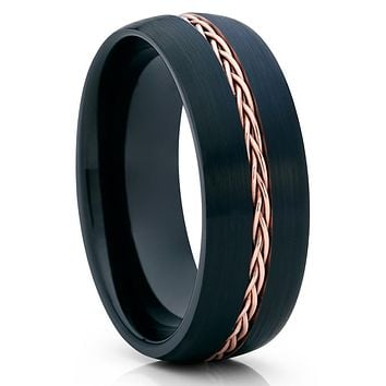 Black Tungsten Wedding Band - Rose Gold Tungsten Ring - Braid Ring - Brush