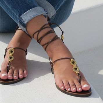 Brown Beaded Leather Sandals in black. HERA 02 NEW