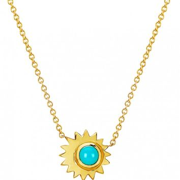14K GOLD TURQUOISE SUN NECKLACE