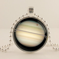 Planet Space, Astronomy glass and metal Pendant necklace Jewelry.