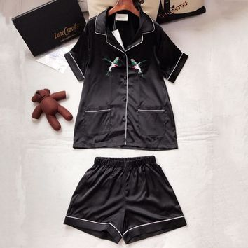 Gucci Women Men Couple Pattern Embroidery Shirt Shorts Robe Sleepwear Loungewear Set Two-Piece