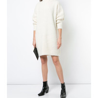 Givenchy Turtle Neck Sweater Dress - Cream Short Length Dress