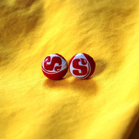 Starburst Candy Wrapper Covered Button Earrings