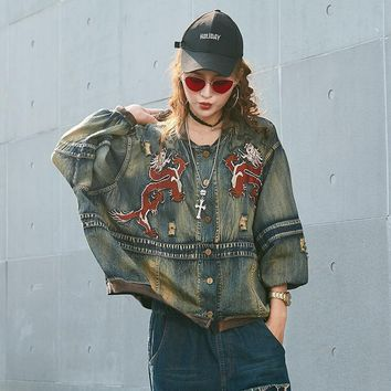 Trendy LANMREM Fashion 2018 New Fashion Paint Full Sleeve Single Breasted Loose Denim Jacket Vintage Trendy Casual Women Coat UA21817 AT_94_13