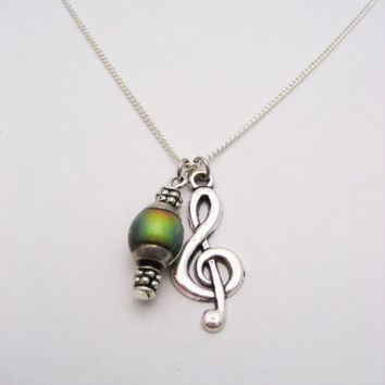 Treble Clef Necklace Music Necklace Music Note Necklace  Mood Necklace Music Note Jewelry  Musicians Gifts  Color Changing Mood Jewelry