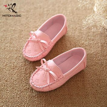 HITOMAGIC 2017 Girl Moccasins Peas Flat Shoe Children Footwear Children's Shoes For Girls Casual Shoes Breathable Soft Leather