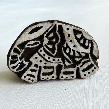 Hand Carved Indian Elephant Stamp: Wood Printing Block from India, Wooden Textile Pottery Clay Ceramic Stamp, Lucky Feng Shui Symbol