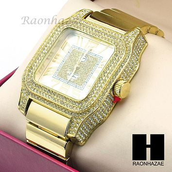 Mens Techno Pave Hip Hop Iced Out Bling Diamond 14K Gold Plated Watch GW191GD