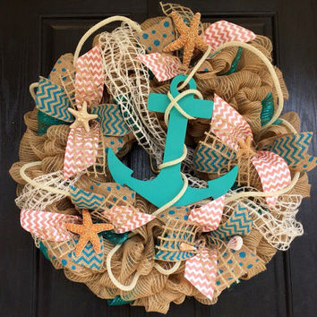 Anchor mesh wreath, burlap nautical wreath, beach wreath,front door beach wreath, nautical wreath