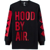 Hood By Air (HBA) Red and Black Long Sleeve Shirt
