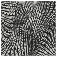 Black and White Striking Zentangle Abstract Print Fabric