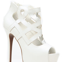 Summer Time Fine White Peep Toe Pumps