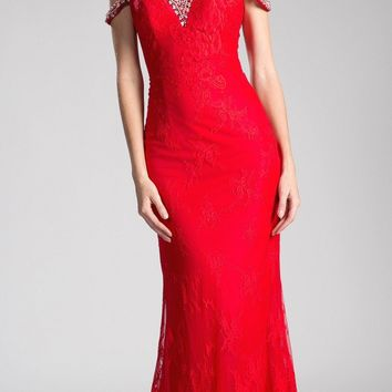 Cold Shoulder Lace Mermaid Long Prom Dress Red
