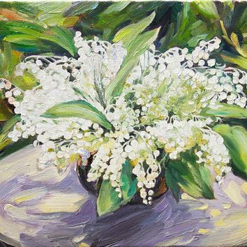 Lily of the Valley Flowers Original Oil Painting Floral Miniature Wall Decor